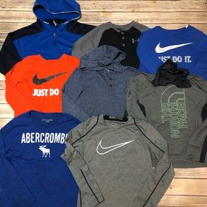 Lot of 8 Boys Long Sleeve Shirts - UA, Nike, A&F